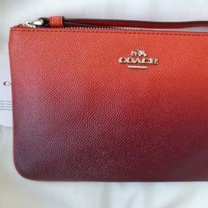 NWT COACH Ombre Leather Large Wristlet F21328 Red